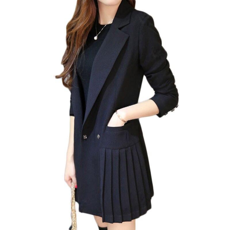 Business Dress For Women Office Long Blazer Jacket Women Black Double Breasted Blazer Dress Pleated OL Robe Suit Plus Size F345