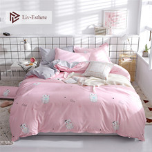 Liv-Esthete Cartoon Cat Pink Bedding Set Duvet Cover Flat Sheet Bedspread Single Double Queen King Bed Linen For Adult Kids Gift(China)