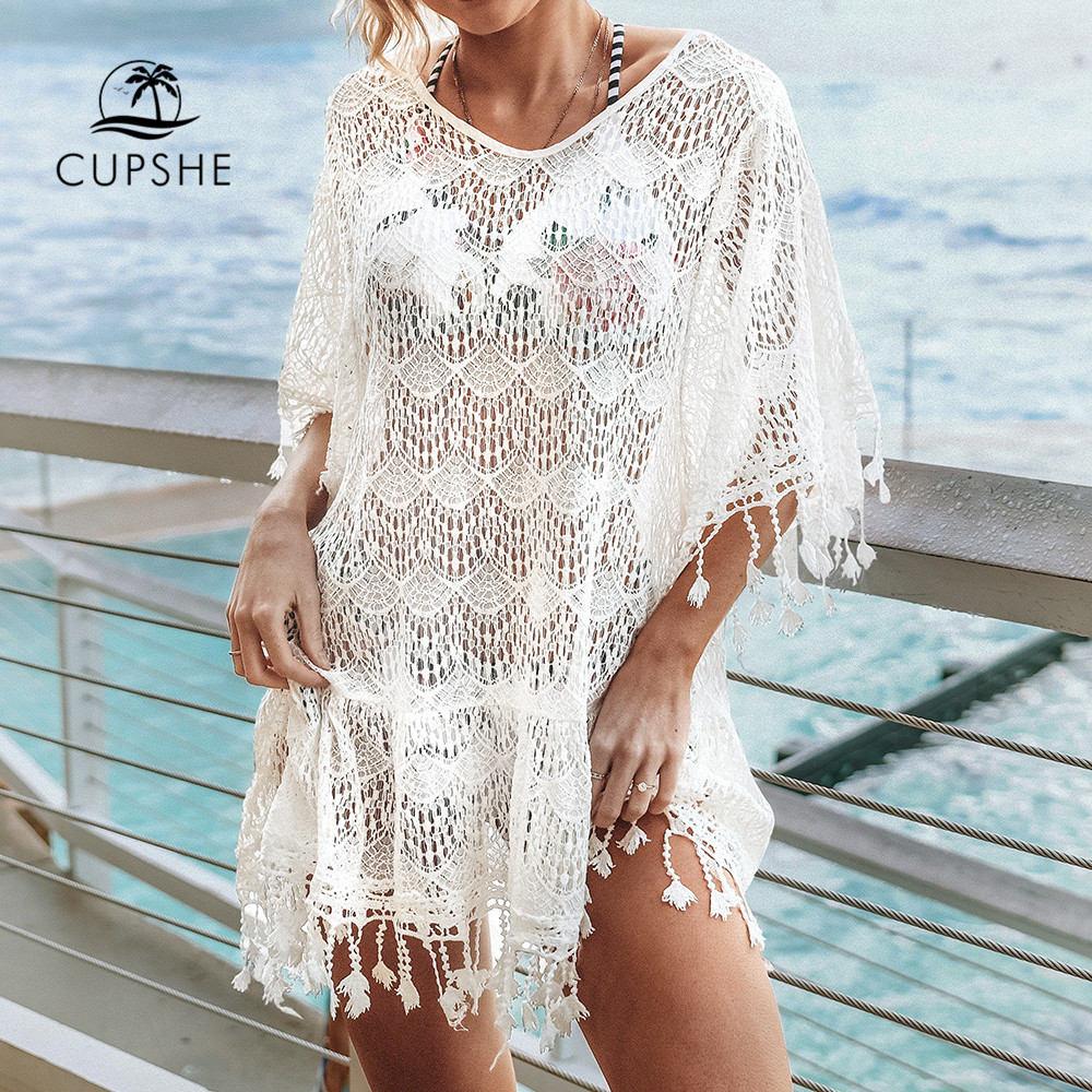 CUPSHE White Lace Crochet Cover Up With Tassel Trim Sexy See-through Hollow Beach Dress Women 2019 Summer Bathing Suit Beachwear(China)