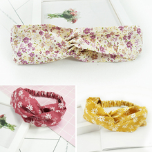 fresh elastic headband Beautiful cloth female personality wild headwear Mother and child cross hair band