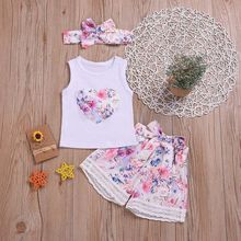 цена на Summer Baby Girls set Sleevless Floral Print Vest Tops+Shorts Suits With Headband Casual Outfits Sets