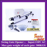Stock Clearance ! 300KGS Double leaf Swing Gate Operator, Swing Gate Opene, with Unit Control Box and 2pcs Remotes
