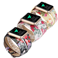 Extra Long Printing Flower Leather Watchband For Apple Watch Band Double Tour Bracelet 38mm 42mm For