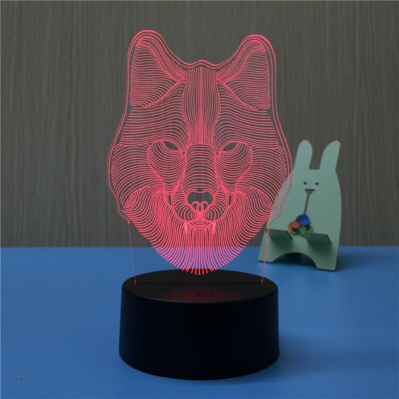 Голова Волка 3D светодиодный светильник, ночник USB LED Иллюзия атмосфера видения настольная лампа для детей украшения спальни новый подарок