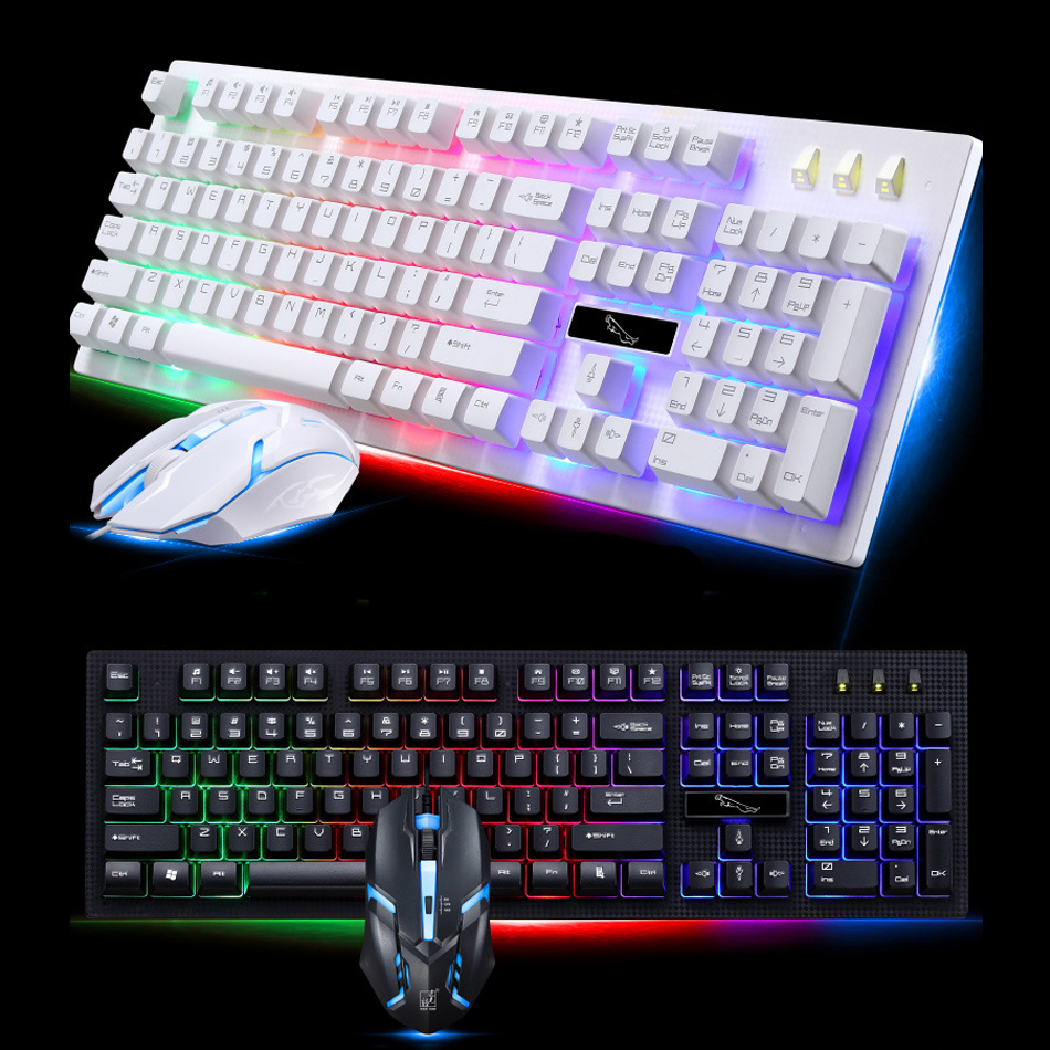 Gamer Keyboard and mouse Set Wired Suspension Mechanical Feel USB 104 Keycap Keyboard Mouse Combo Laptop Computer PC Backlit RGB