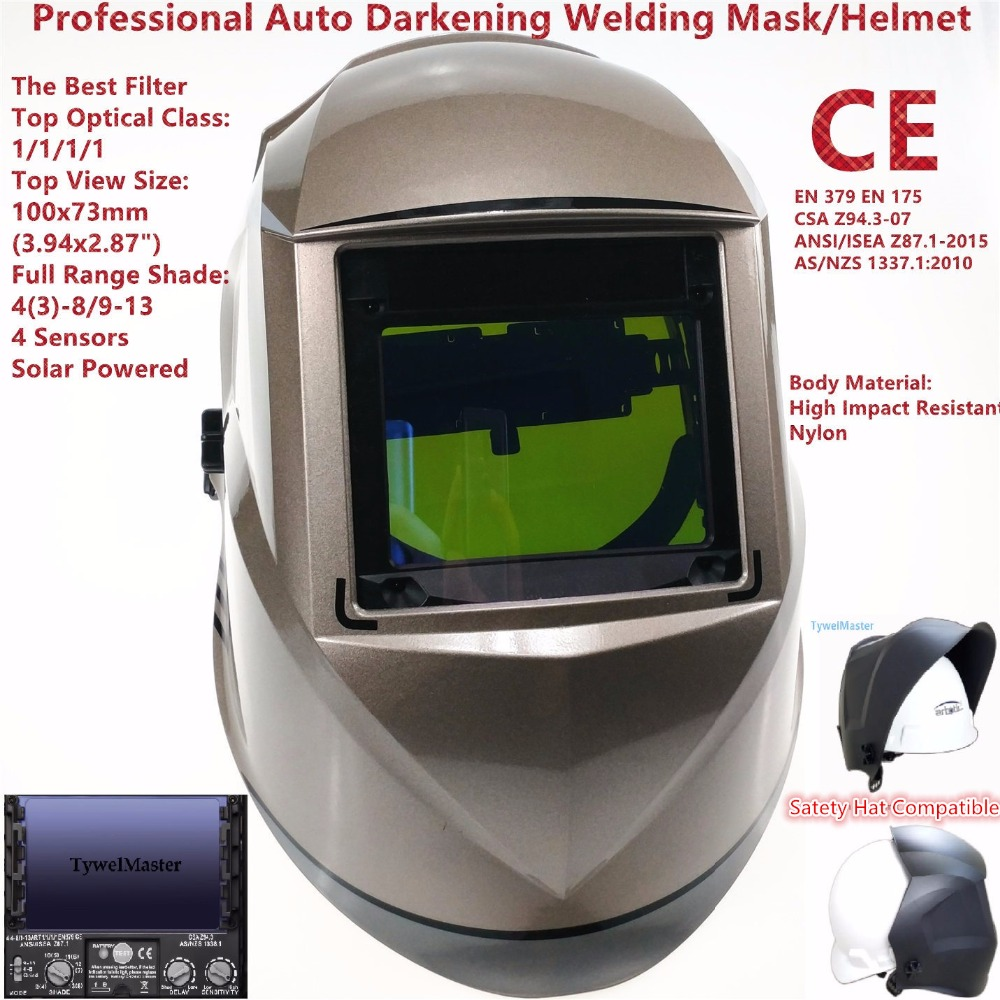 Welding Mask Top Size 100x73mm(3.94x2.87) Top Optical Class 1111 4 Sensors Shade Range 4(3)-13 Auto Darkening Welding Helmet CE