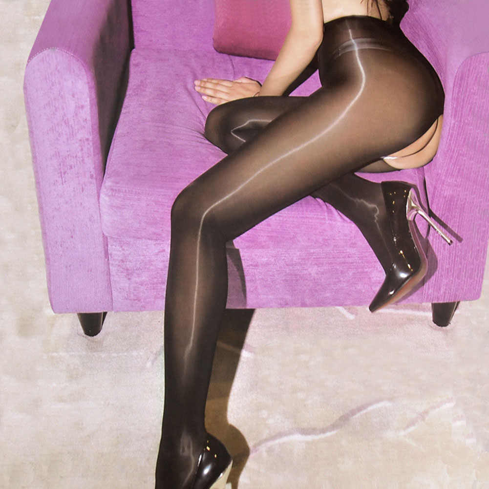 새로운 8D Crotchless Elastic Magical Stockings 반짝이 팬티 스타킹 Anti Hook 섹시한 오일 오픈 가랑이 Shiny Tights Gloss smooth Medias