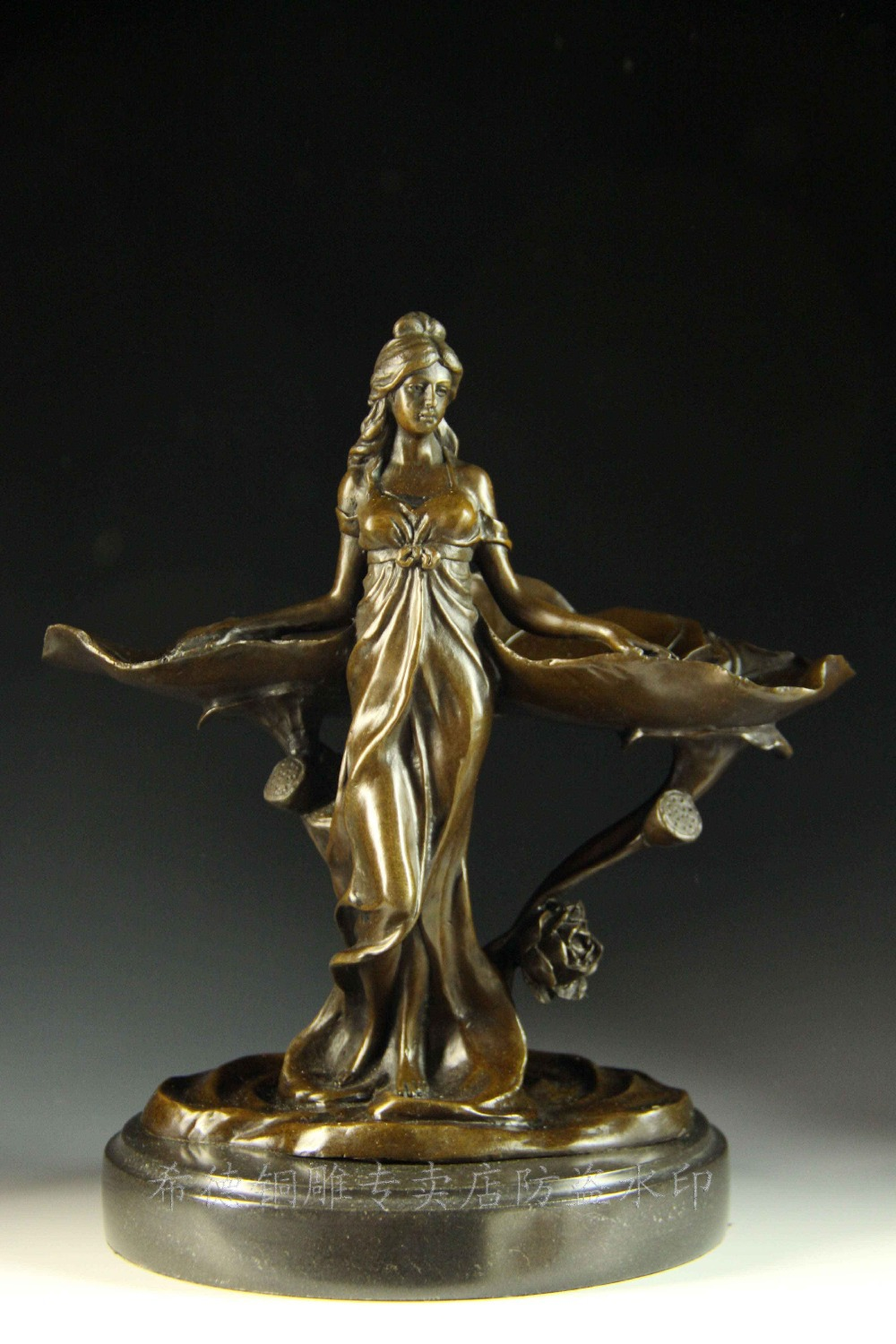 Aliexpress Com Buy Classical Vintage Pure Bronze Tray Decoration Home Decor Women Statue Figurines Sculpture For