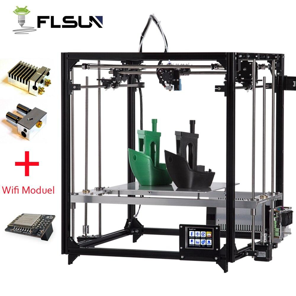 Flsun 3D-принтеры комплект Большая площадь печати 260*260*350 мм Сенсорный экран двойной экструдер алюминиевая рама 3 d принтер с подогревом кровать