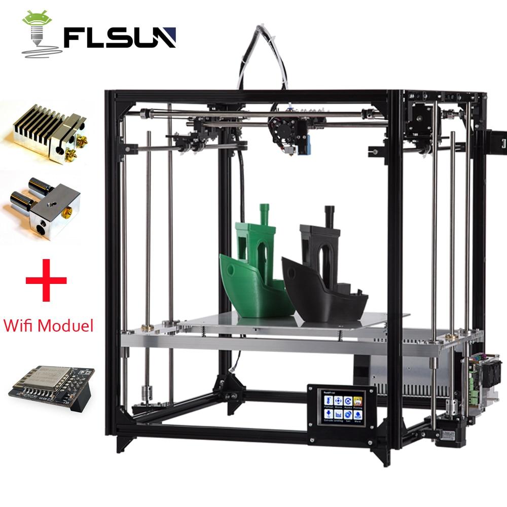 NOUVEAU Flsun 3D Imprimante Kit Grande Zone D'impression 260*260*350mm Écran Tactile Double Extrudeuse En Métal Cadre 3d imprimante avec Chauffée Lit