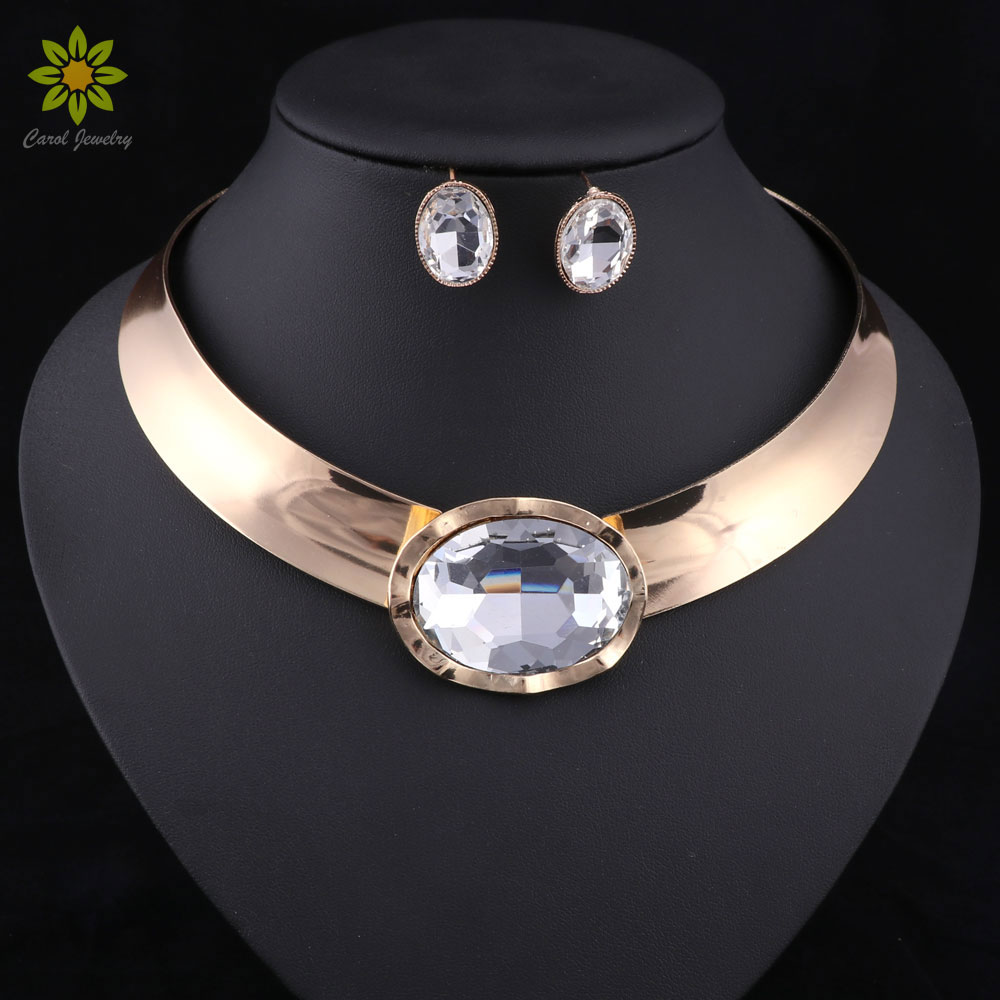 Statement Women Choker Necklace Earrings Set Gold Color African Chunky Rhinestone Pendant Necklace Collar Jewelry Sets