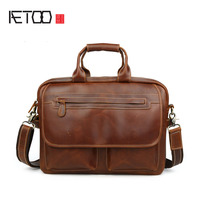 AETOO New butter leather double zipper large capacity men briefcase casual men bag computer bag handbag