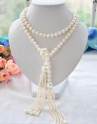 new Long PERFECT 7-8+11mm white akoya pearl necklace 60inch>Selling jewerly free shipping цена и фото