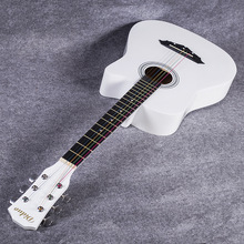 38 inch White Guitar Folk Basswood Guitar Metal Strings Button Wood Guitar Practicing for Beginner with Picks Accessiories JT01 38 inch acoustic guitar for beginners folk guitar 6 strings basswood guitar 13 colors high quality music instruments agt16
