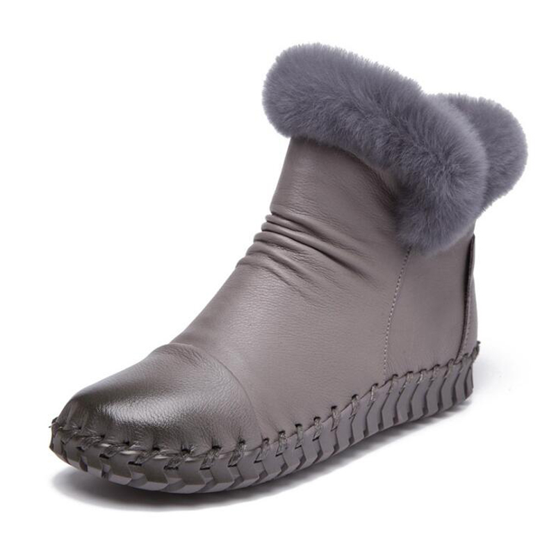 Flache Mit Handarbeit Schuhe Leder 7 Stiefel 4 5 Stiefeletten 3 Kappe 6 2 Kaninchenfell Winter Echtes Solide Runde Frauen K237 1 twzF8
