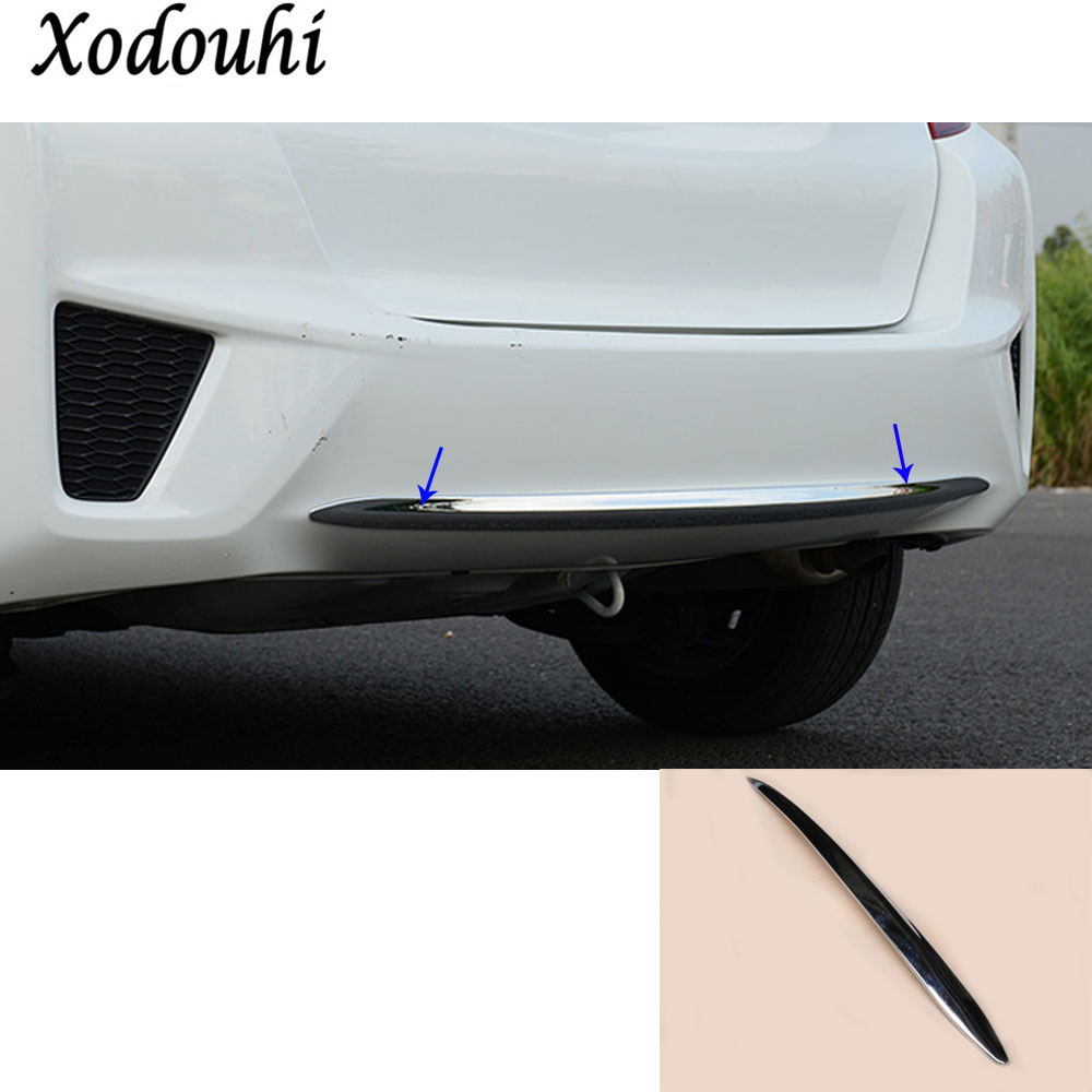 цены For Honda Fit jazz 2014 2015 2016 2017 car body cover protection Bumper ABS Chrome trim rear back tail bottom hoods parts 1pcs