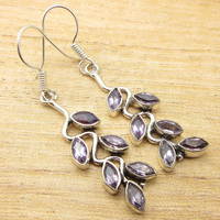 Silver Plated Classic Amethysts STUNNING Earrings 2 1 8 GIFT FOR LOVED ONES