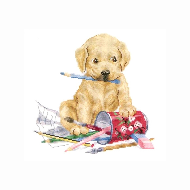 Cachorro dibujo pintura costura al por mayor, puntada, 14ct puntada ...