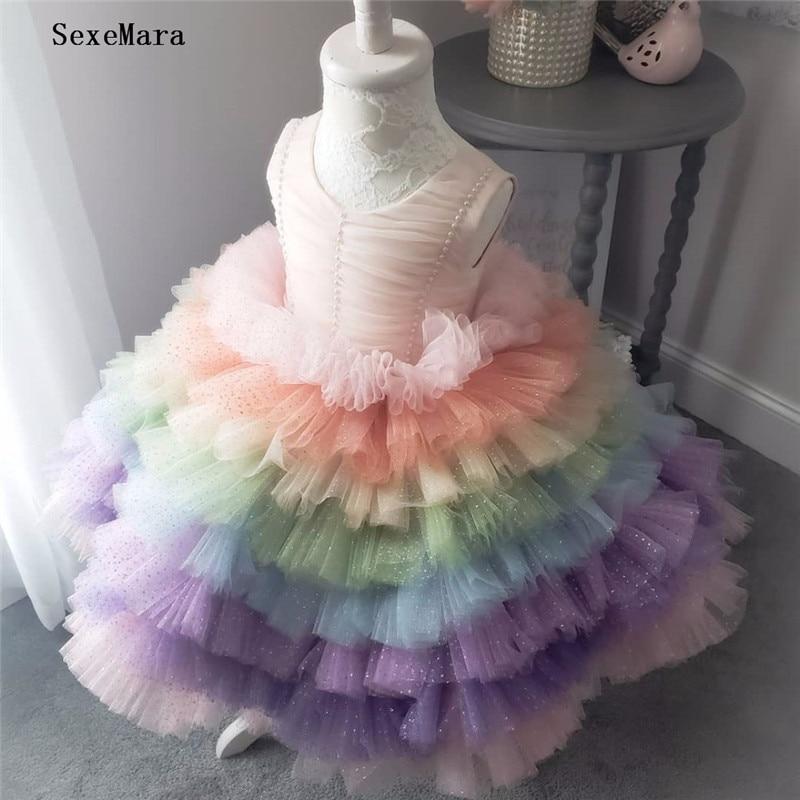 Arc-en-ciel doux bouffi Tulle fille robes robe de bal bébé enfant en bas âge robe de fête d'anniversaire avec perles Glitz Pageant robe premier anniversaire