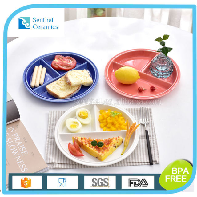 Creative Porcelain Plate Ceramic Snack Dish Round Divided 3 Section Easy To Wash Microwave Dishwasher Safe