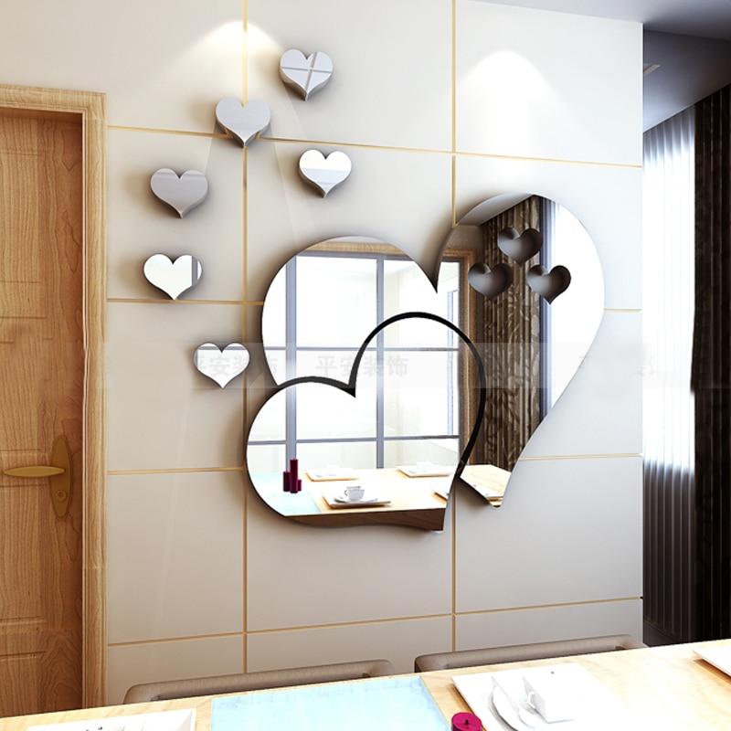 Romantik sevgi Güzgü 3D divar nişanları Öz-özünə yapışan - Ev dekoru - Fotoqrafiya 2