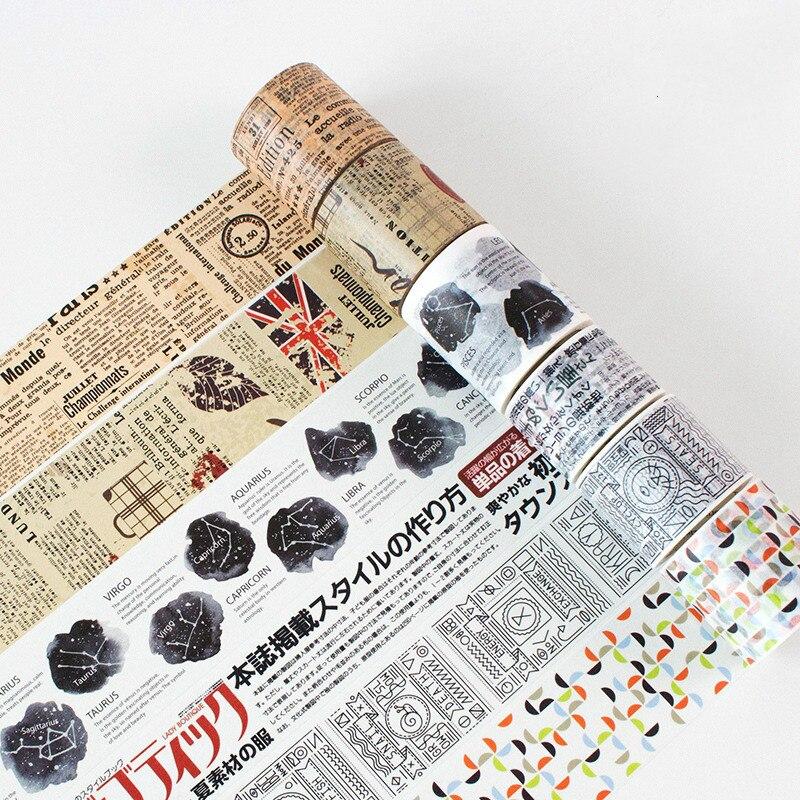 5M Length Retro Masking Tape Stickers Scrapbooking Washi Tape Set DIY Decoration Planner Handbook Decorative Washi Tape Vintage