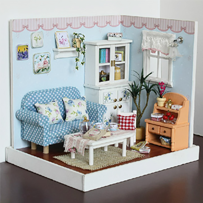 Elegant DIY Dollhouse With Furnitures LED 3D Wooden Doll House Toys Handmade Crafts Birthday Gifts For Children F005 #D