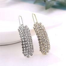 Stick Hairpin Barrette Crystal Gold/silver Hair-Accessories Snap Metal Elegant Korean-Design