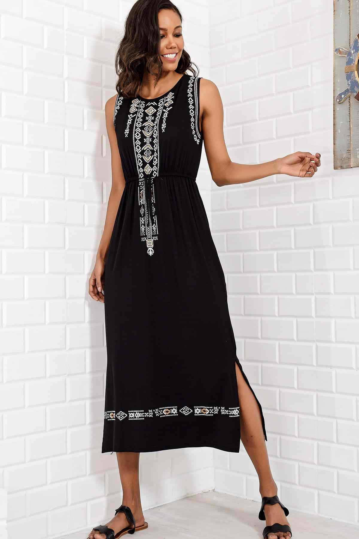 Trend: alacati Style Women Black Embroidery Printed Bohemian Dress ALC-6564