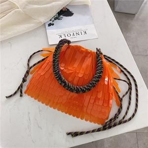 Image 2 - Летняя Пляжная прозрачная сумка на шнурке, женская модная брендовая дизайнерская сумка с кисточкой 2019