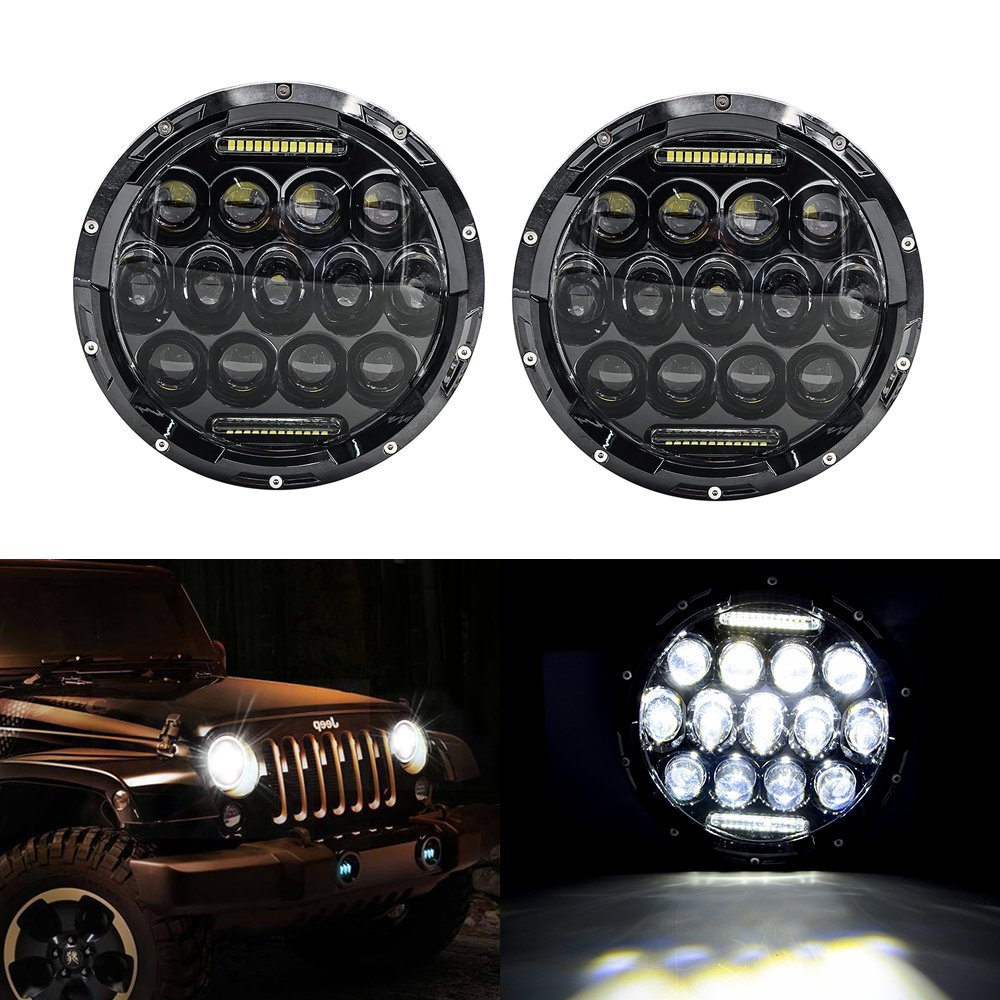 2Pcs 7 Projector Daymaker Round 75W 7500LM Hi/Low Beam Motorcycle LED Headlight Bulb DRL for Jeep wrangler free shipping 7inch round headlight 75w h4 motorcycle round led headlamp daymaker hi low beam head light bulb drl for offroad