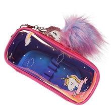 TOPSTHINK Unicorn pencil pouch cute pompon pen supplier pencil bag novelty school case цена