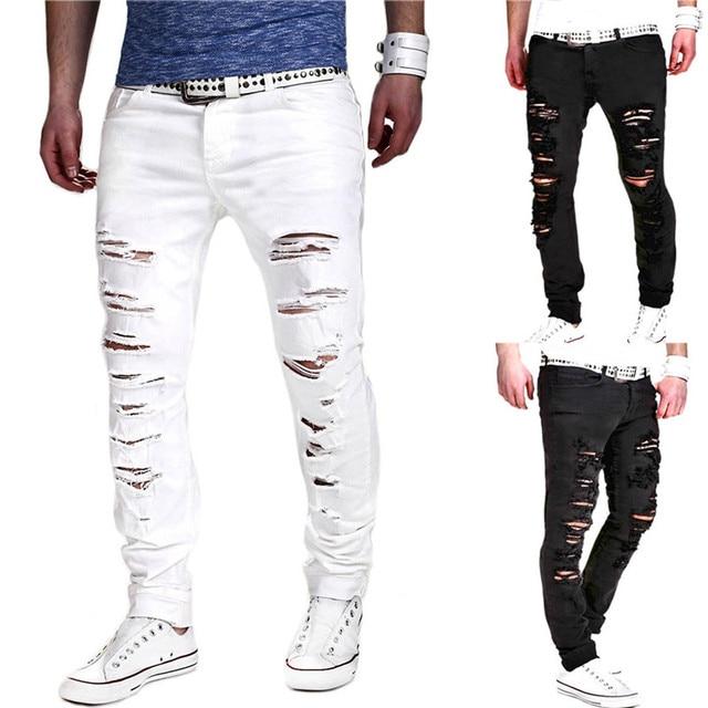 Для мужчин эластичная рваные байкерские джинсы скинни уничтожены тесьмой Slim Fit джинсовые штаны прямо в середине талии молния летать Для мужчин брюки # по