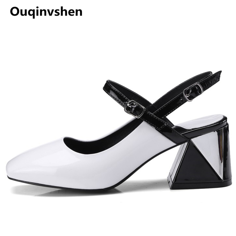Ouqinvshen Hoof Heels White Summer Shoes Women Square Toe Buckle Mixed Colors Sandals Fashion Women Sandals 2018 6CM Big Size