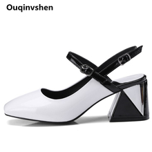 Ouqinvshen Hoof Heels White Summer Shoes Women Square Toe Buckle Mixed Colors Sandals Fashion Women Sandals 2018 6CM Big Size