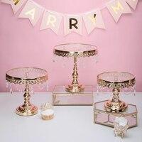 Or verre gâteau stand avec cristal qualité fondant gâteau décoration outils dessert table de mariage événementiel gâteau outils de bonbons bar