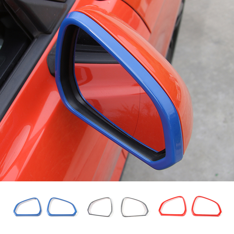 MOPAI ABS Car External Rearview Mirror Decoration Frame Ring Cover Trim Stickers For Ford Mustang 2015 Up Car Styling abs accessories for ford mustang 2015 2016 2017 carbon fiber style car seat backrest adjustment handle frame cover kit trim