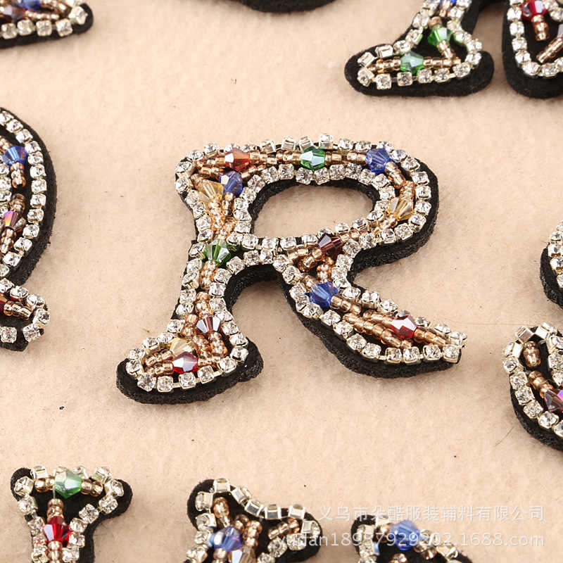 ... A-Z 1PC colour cartoon English Alphabet Letter Mixed Rhinestones beads patches  applique sew on bead applique ... 6fb3b1a5b149