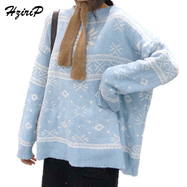 HziriP Light Blue Snowflake Sweaters Women Loose Pullovers 2018 New Casual  Long Sleeve Sweater Autumn Winter 2ead6164c