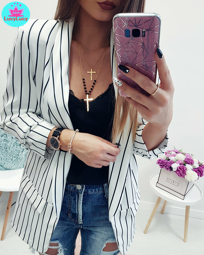 Spring And Summer Leisure Fashion Small Suit Long Sleeve Stripe Women's Jacket In Europe And America In 2019