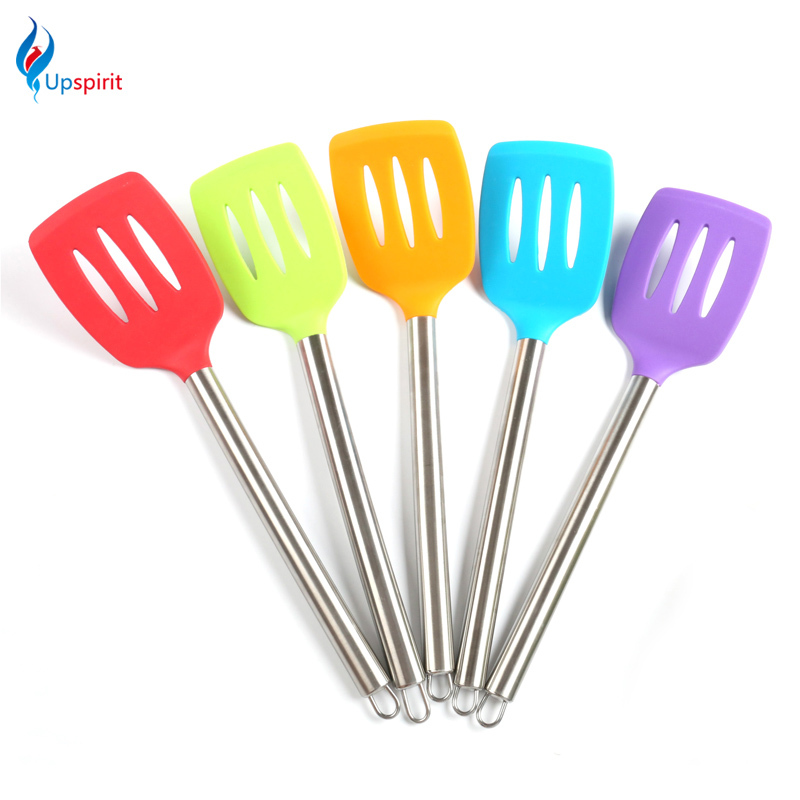 Silicone Slotted Turner Cooking Kitchen Tools Spatula Frying Fish Shovel  Stainless Steel Long Handle Turners Kitchen
