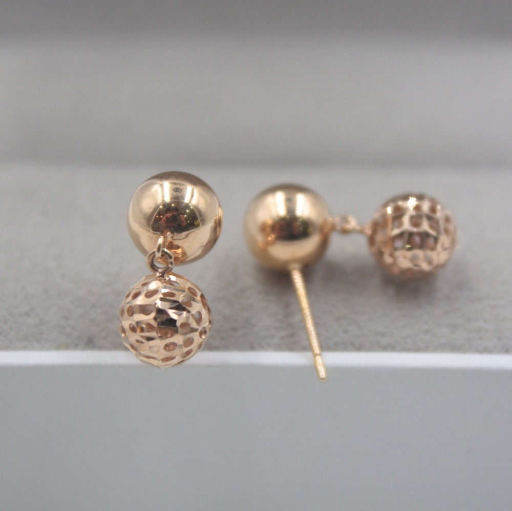 Boucles d'oreilles en or Rose 18 K pur personnalisé balle lisse creux mignon boucles d'oreilles 2.8-3.0g bijoux de tous les jours petite amie meilleur cadeau - 5