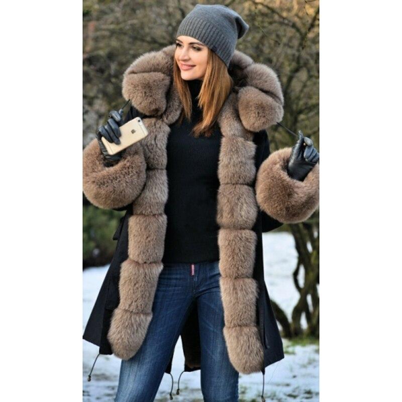 f3b97e0e7b Details about Removable Women 100% Real Fox Fur Coat Parka Hood Liner Winter  Jacket Overcoat