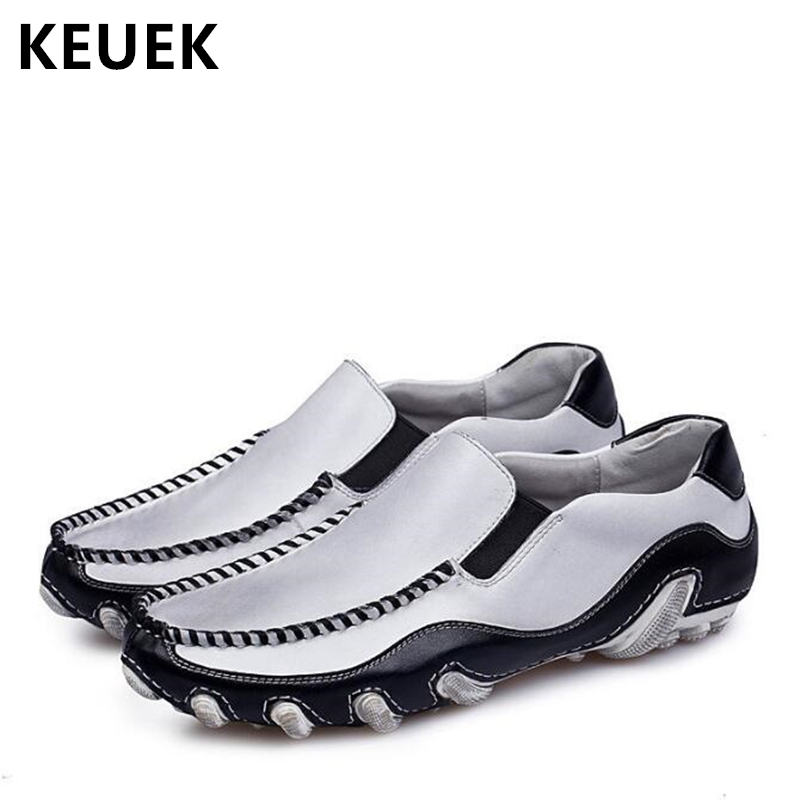 Spring Autumn Men Flats Genuine leather Slip-On Casual shoes Soft Comfortable Driving shoes Male Loafers Boat shoes 02A vesonal driving brand genuine leather casual male shoes men footwear adult 2017 spring autumn comfortable soft driving for man