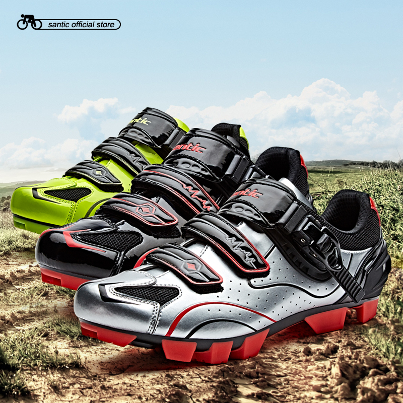 Santic Men Cycling MTB Shoes 3 Colors Cycling MTB Athletic Racing Team Bicycle Shoes Breathable Cycling