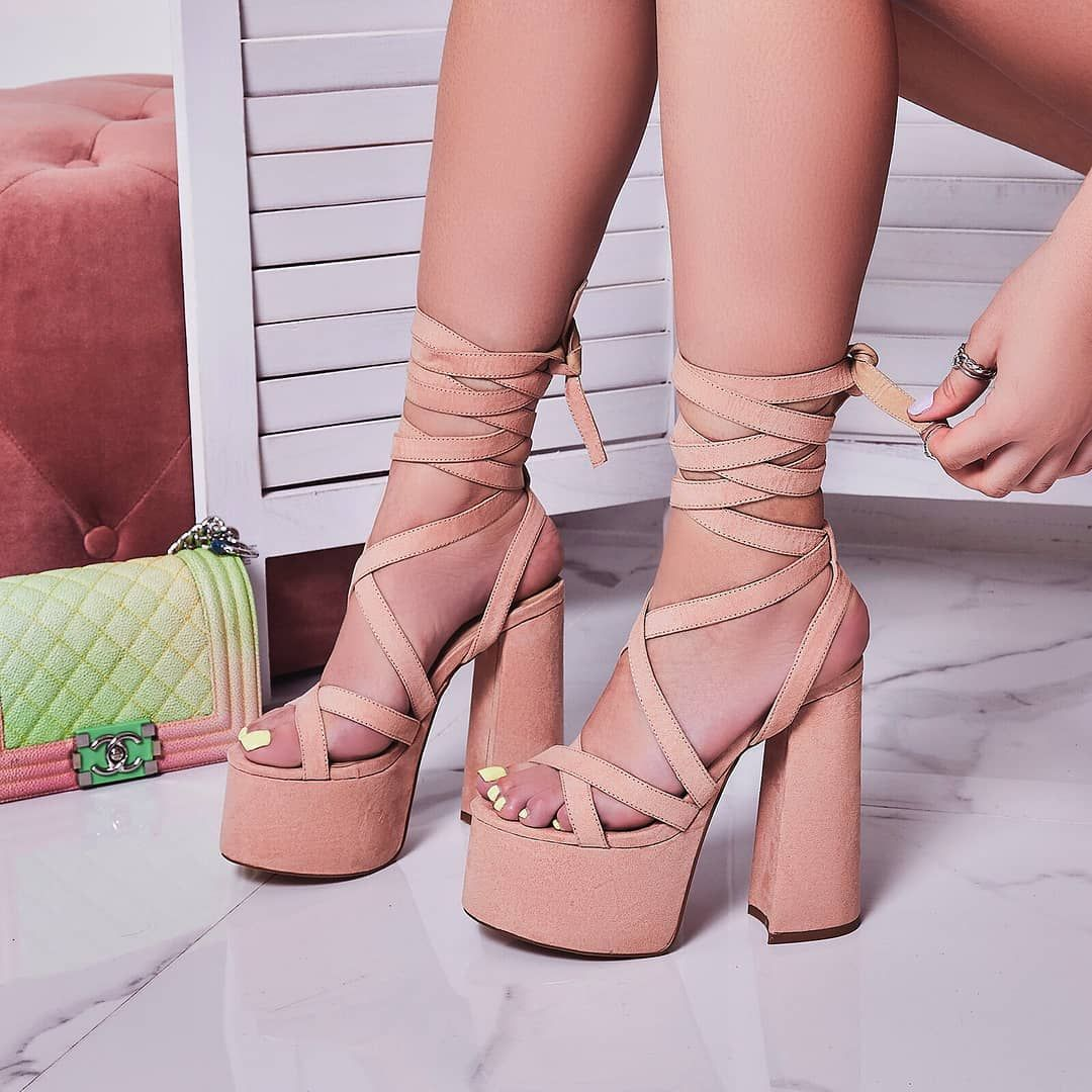 Moraima Snc Sexy Open Toe Lace-up Shoes Woman Summer Platform Thick Heels Sandals Ladies Cutouts Gladiator Party Shoes