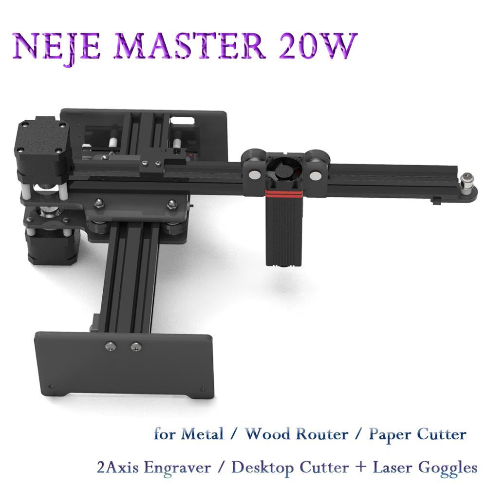 NEJE Mestre 20W CNC Máquina de Gravura do Laser/Gravador Do Laser para Metal/Madeira Router/Cortador De Papel/ 2Axis Gravador/Cortador De Mesa