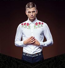 Free Shipping New fashion male Men's high-end customized long sleeved rose white shirt embroidered stitching 612135 custom-made
