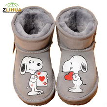 JUP Snow Boots for Boys Girls Baby Cat Mouse Pink Cute princess One Piece Hand-painted Leather Duantong Cotton Velvet Warm Shoes