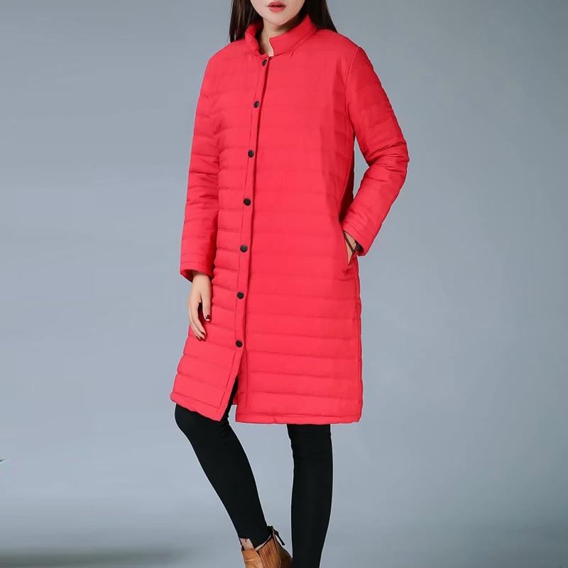Size Thin Red Wadded Autumn Winter Jackets Women Cotton Long Padded Coat Outwear Warm Chaquetas Parka Feminina
